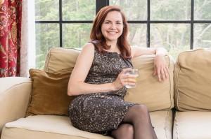 Alison Kawa relaxing with iced tea